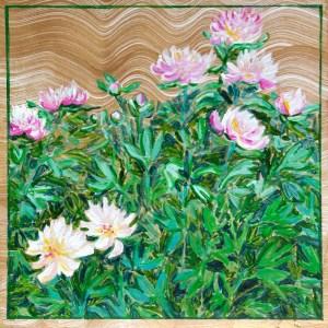 Peony Garden: acrylic painting