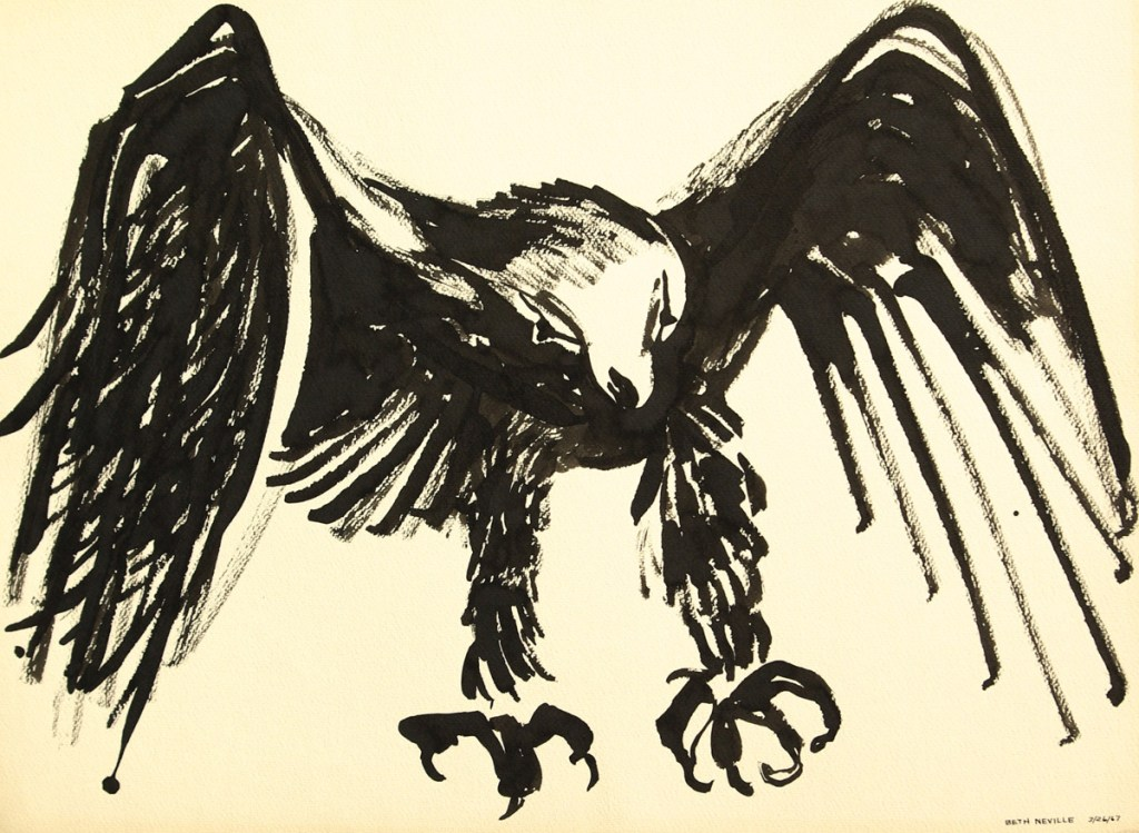 black sumi-e ink: Raven of Death Landing