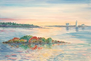 watercolor: Sunset, Fall Foliage, Maine
