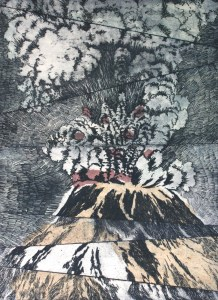 etching: Eruption, Mt. St. Helens