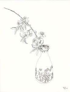 pen drawing: Apple Blossoms in Asian Vase