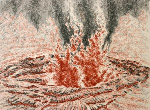 conte crayon and chalk artwork: Spiral Jetty