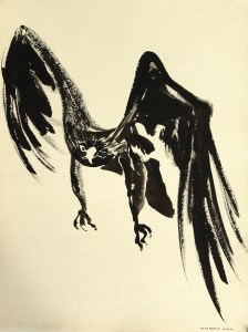 black sumi-e ink: Raven of Death Searching Prey
