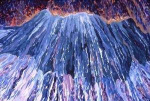 Caldera's edge, detail: acrylic painting