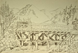 charcoal drawing: Bridge, Korea