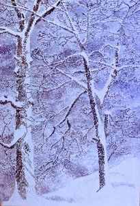 watercolor: Falling Snow, Two Oak Trees Yonkers NY