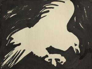 black sumi-e ink: Raven of Death Searching at Night