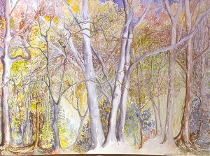 watercolor: Fall, Trees, West Haven, CT