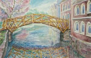 watercolor: Mathematical Bridge, Cambridge, England