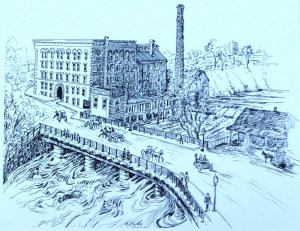 drawing: Walter Baker Chocolate Factory, 1886