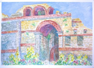 watercolor: Arch, Byzantine Walls, Preveza, Greece