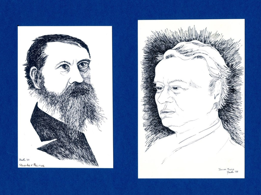 pen on paper portraits of Charles Peirce and Josiah Royce