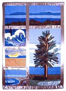 fabric banner of California coast
