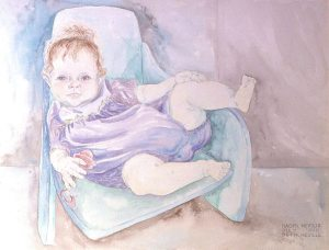 watercolor painting of Naomi in Infant Seat