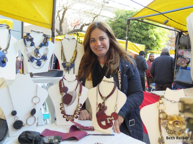 Of course I couldn't resist buying a necklace made by this artisan at the market at Plaza Cortazar