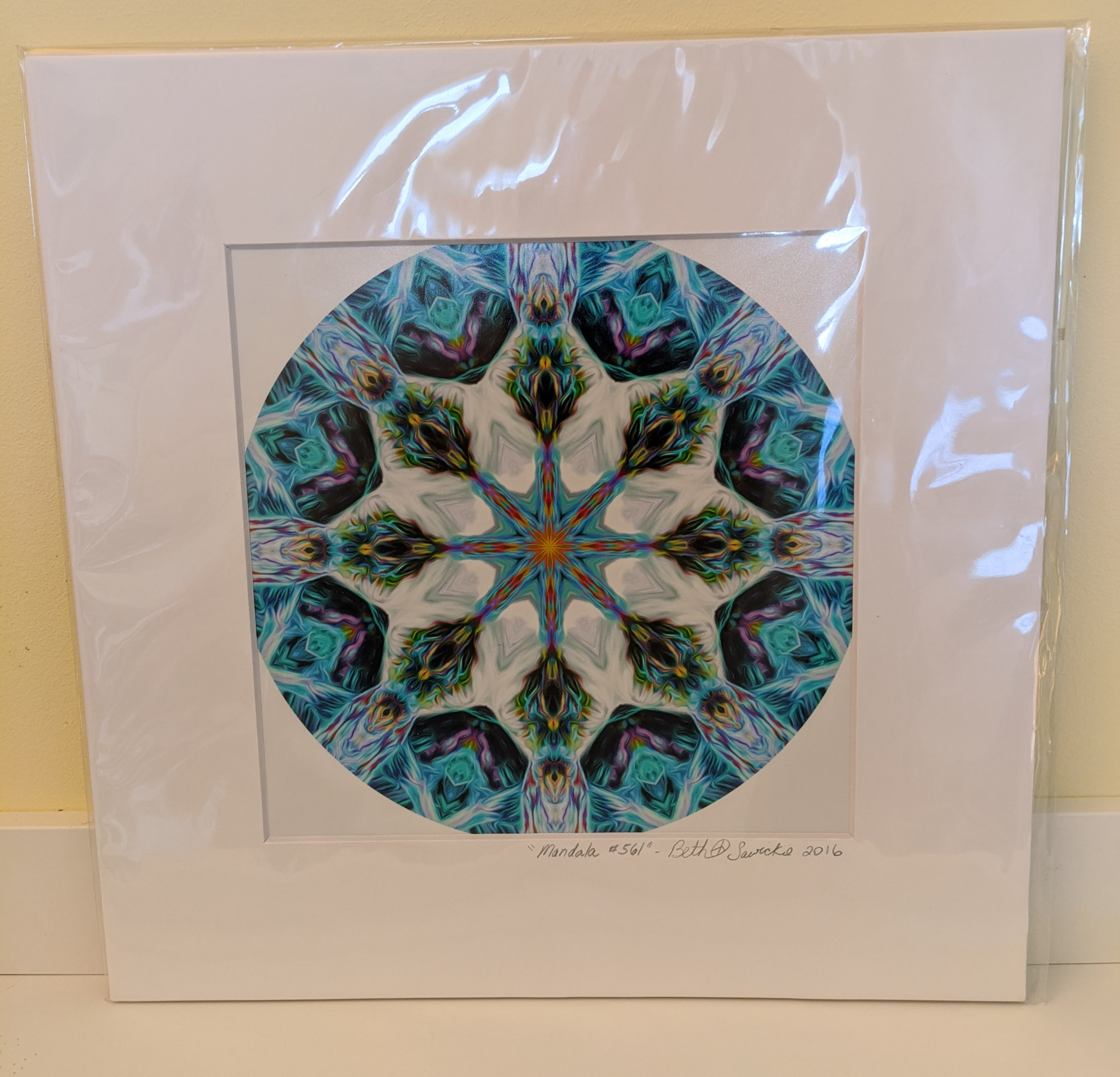 a photo of the mandala print being given away