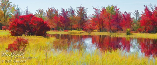 Fall Reds Reflection by Beth Sawickie www.bethsawickie.com/fall-reds-reflection #landscape #falllandscape #autumnlandscape #fallleaves
