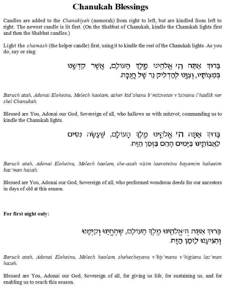 Chanukah Candle Lighting Prayer In Hebrew