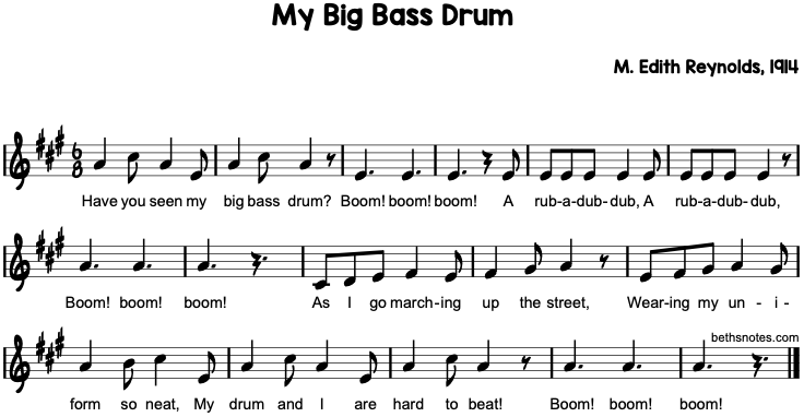 My Big Bass Drum  Beths Notes