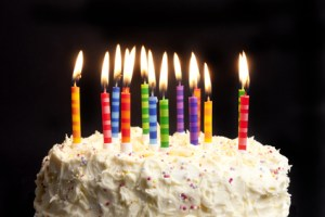 birthday cake and candles on black background