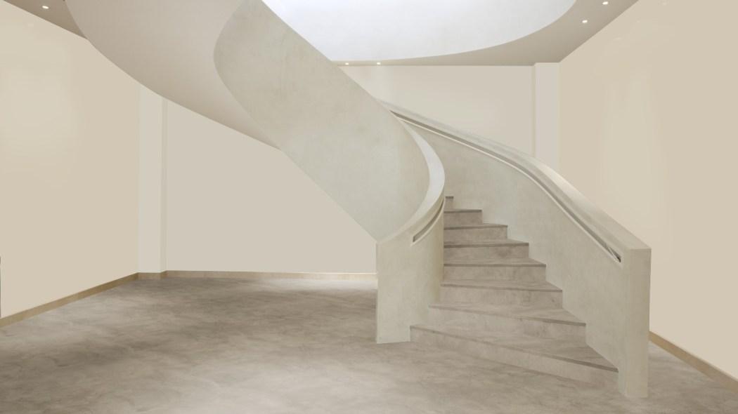 Beton Ciré vloer in de hal en op de trap