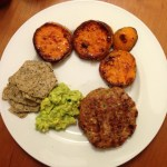 roasted sweet potatoes with turkey burger and guac @betondinner