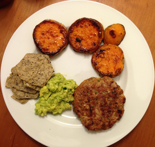 Roasted Sweet Potatoes (and Jalapeño Cheddar Turkey Burgers).