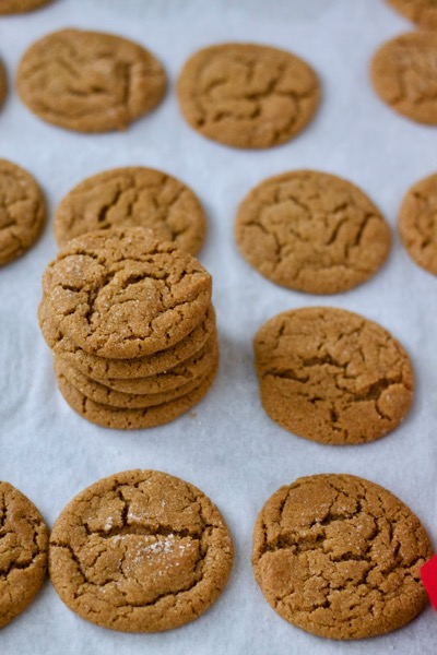 a stack of crackly-surfaced, sugary gingersnaps