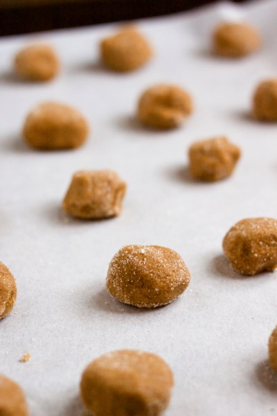 Sugar-rolled gingersnaps dough balls need space to spread out on the pan