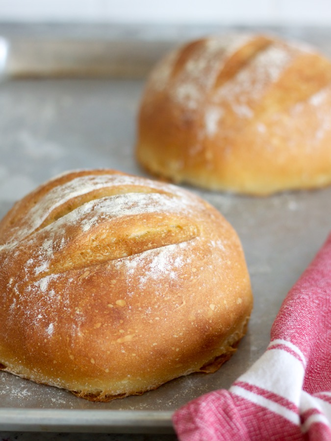 Crusty No-Knead Bread (with salty honey butter).