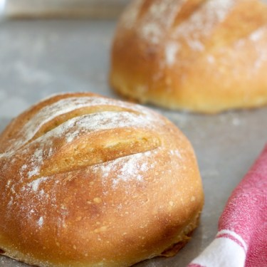 Crusty no-knead bread is easy to make but incredibly satisfying with its crackling crust and soft, chewy inside - perfect with a swipe of salty honey butter!
