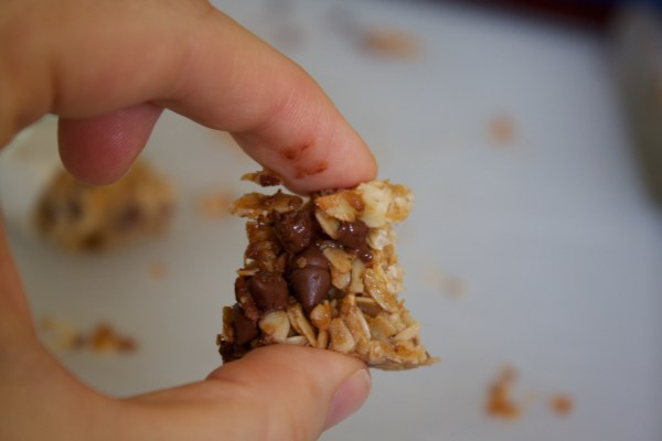 a bite of chocolate chip granola bar