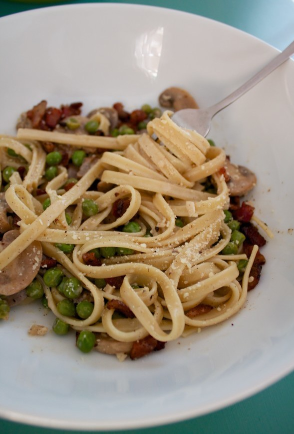 Pasta with Peas and Bacon.