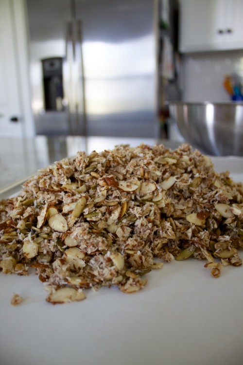 paleo granola on the pan