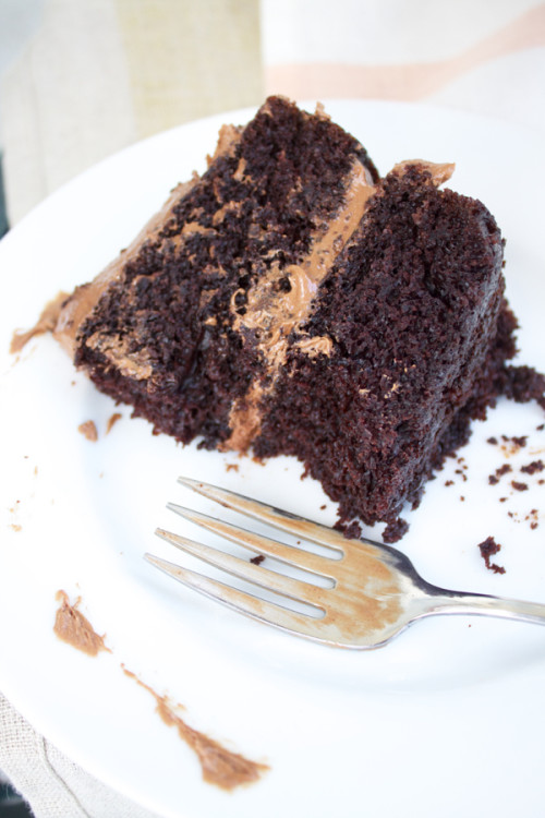 eating chocolate cake