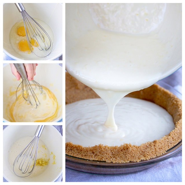 mixing the filling for easy lemon pie