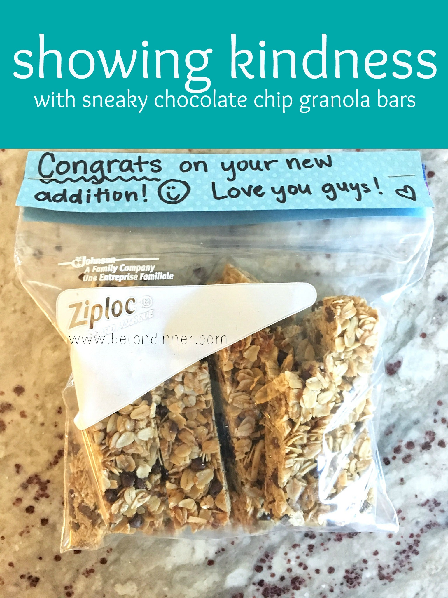 showing kindness with sneaky chocolate chip granola bars