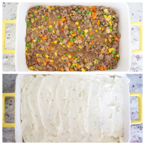 Shepherd's pie is satisfying comfort food with a layer of saucy ground beef and veggies and a layer of fluffy mashed potatoes!