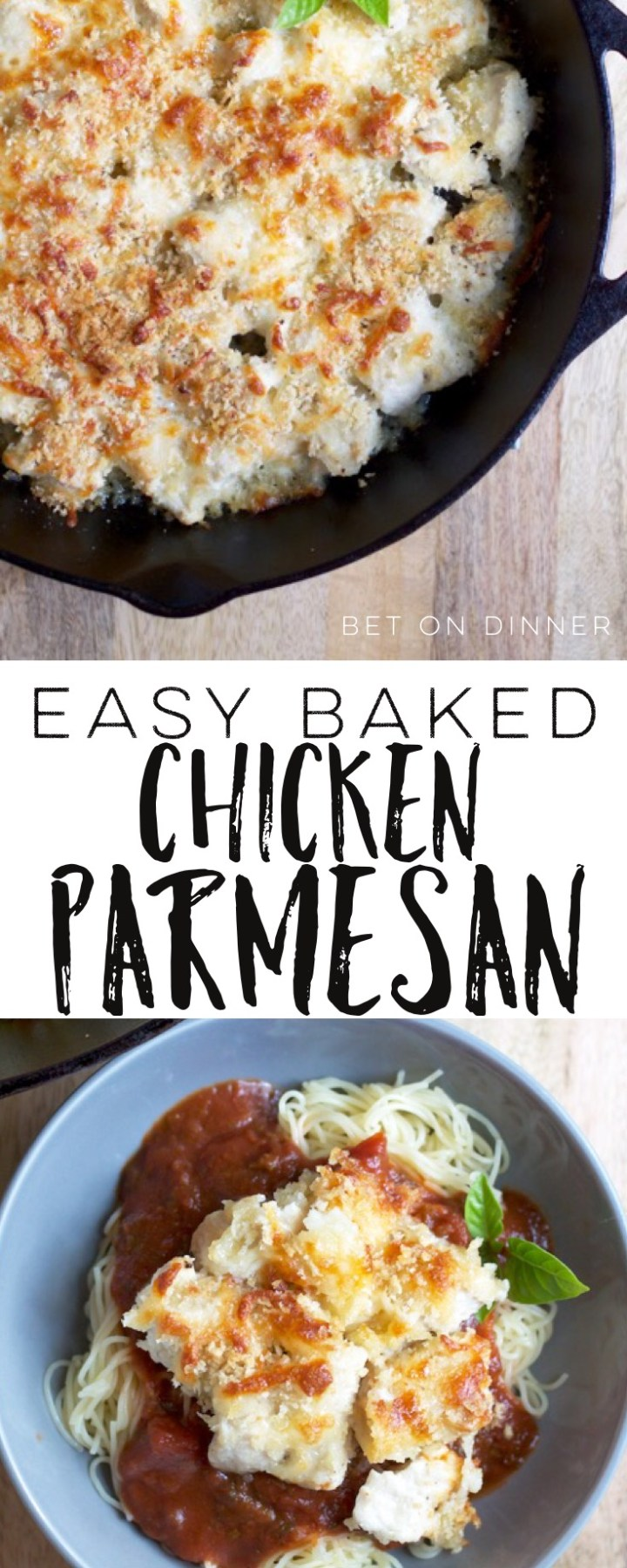 Easy baked chicken parmesan features seared bite-sized pieces of chicken covered with a bread crumbs and cheese topping! So crispy...so cheesy...so easy!