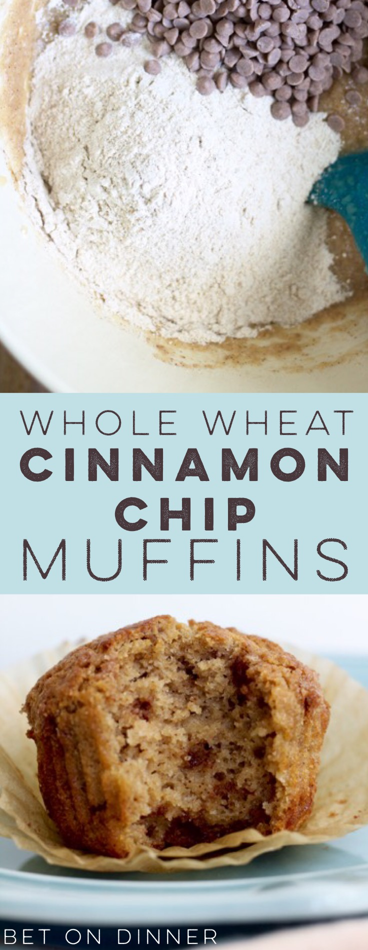 These one-bowl whole wheat cinnamon chip muffins are tender and coffeecake-y, packed full of sweet cinnamon chips - a perfect easy breakfast or lunchbox treat!