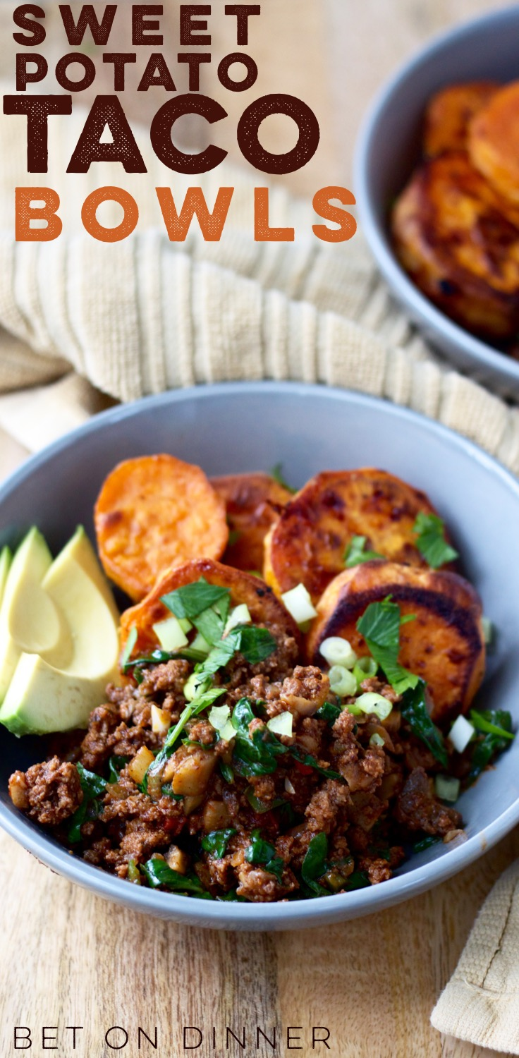 Veggie-packed taco bowls with roasted sweet potatoes are a great Whole30-approved dinner or meal prep dish!