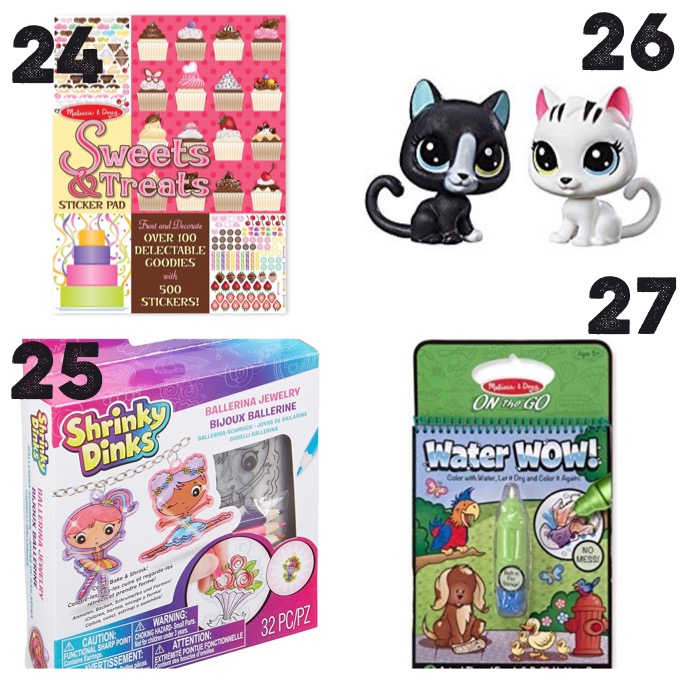 sticker books, shrink dinks, littlest pet shop kitties, Melissa and Doug Water Wow