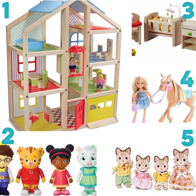 Dollhouse, Daniel Tiger figures, dollhouse furniture, Chelsea dolls, Calico Critters