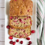 A thick slice of moist fresh cranberry bread, bursting with tart berries, and slathered with butter.