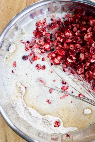 Mixing the batter for fresh cranberry bread.