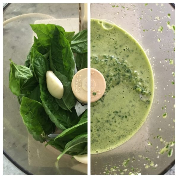 a side-by-side picture of a food processor with marinade ingredients, before and after blending