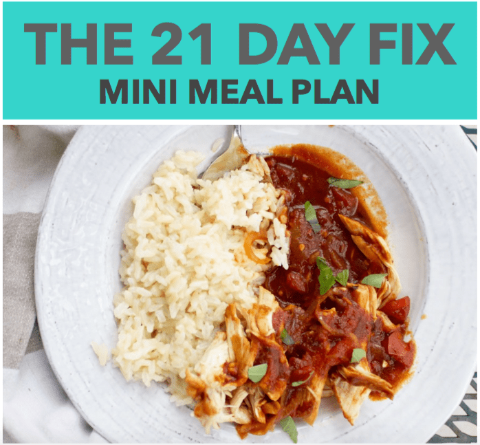 the 21 day fix mini meal plan