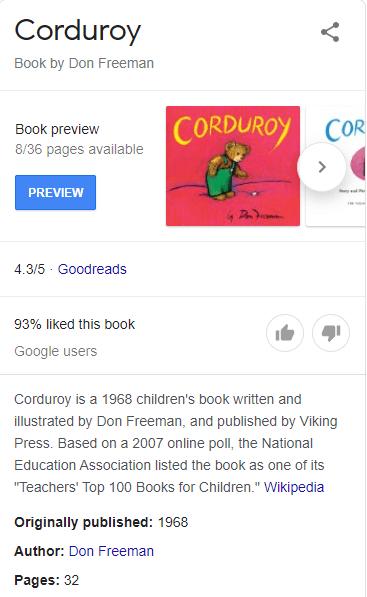 corduroy children's book