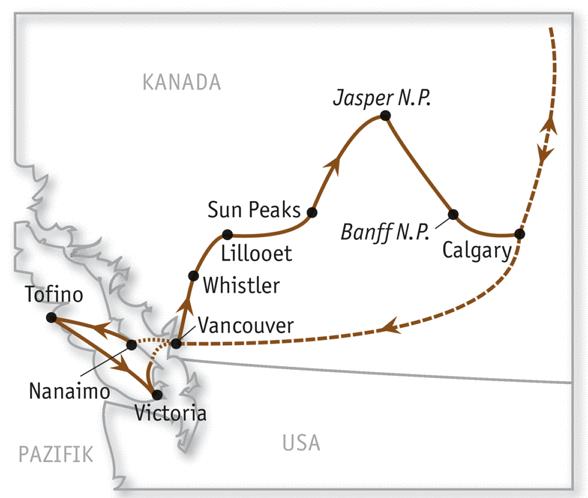 Reiseroute Kanada