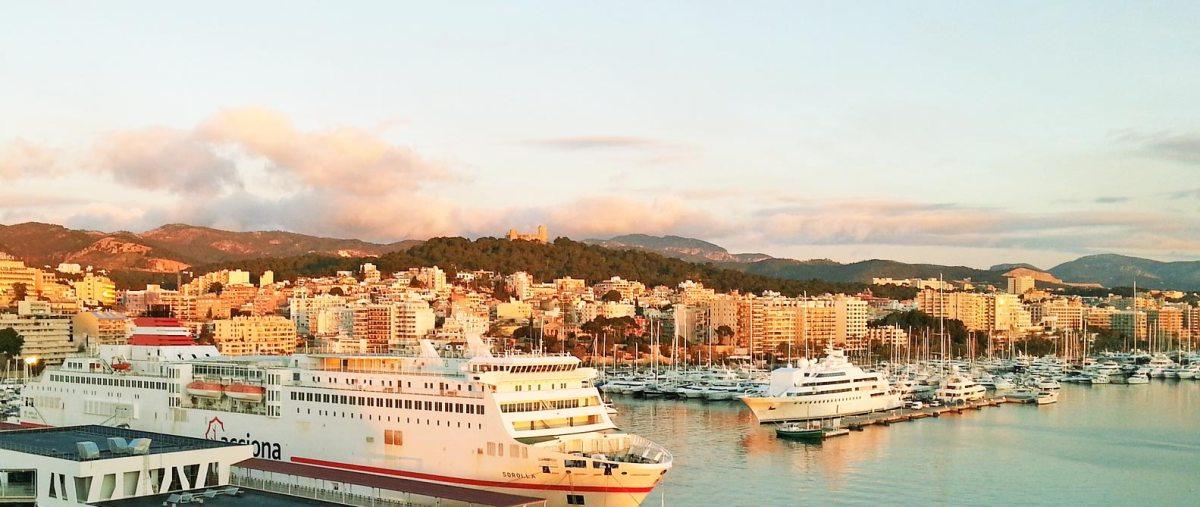 Hafen von Palma de Mallorca mit großen Kreuzfahrtschiffen
